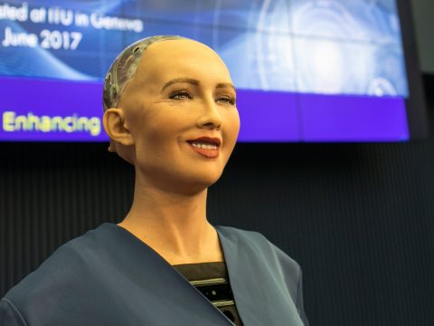 Gently smiling robot that looks like a benevalent bald woman.